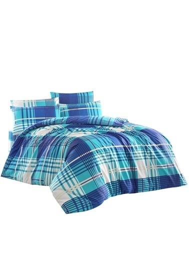 Firuze Çift Kisilik Nevresim Takımı Bluecos Desen Renkli